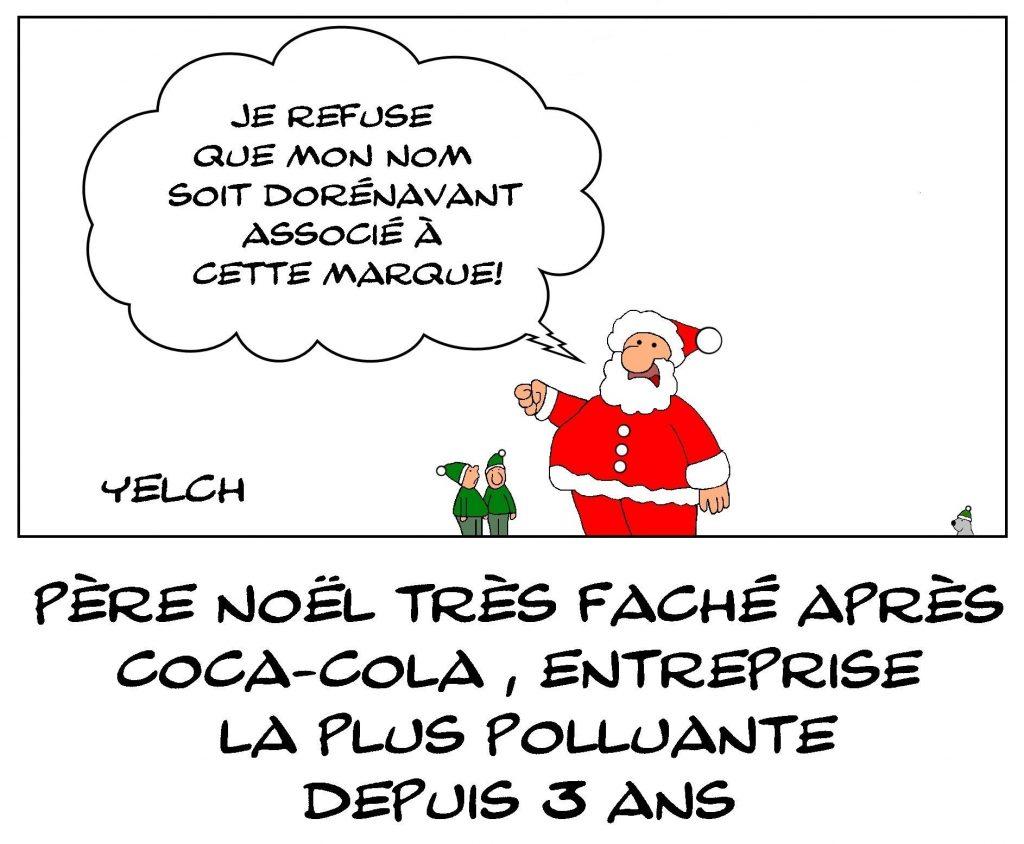 dessins humour pollution Coca-Cola image drôle Père Noël