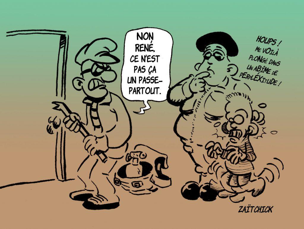 dessin presse humour cambriolage cambrioleur image drôle Fort Boyard Passe-partout