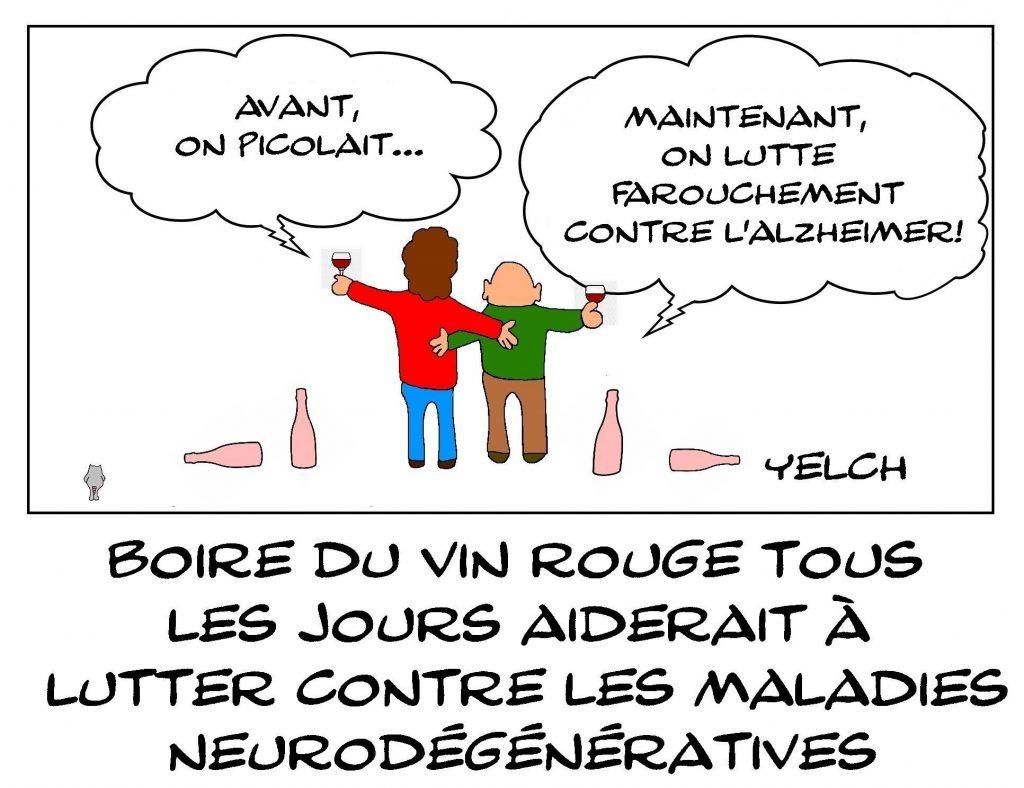 dessins humour alcoolisme vin rouge image drôle prévention Alzheimer