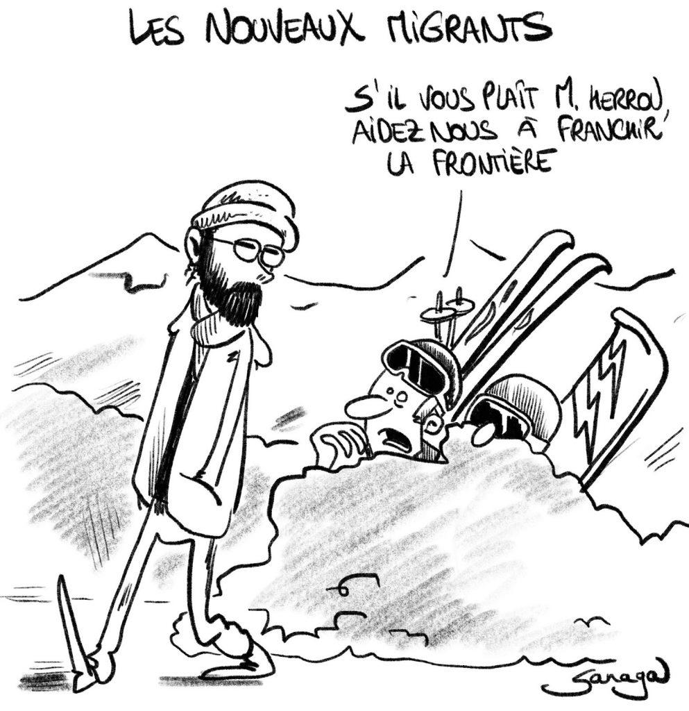 dessin presse humour coronavirus confinement covid19 image drôle ski sport d'hiver frontières