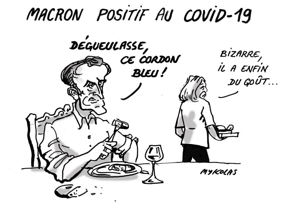 image drôle coronavirus covid-19 dessin humour Emmanuel Macron cordon bleu