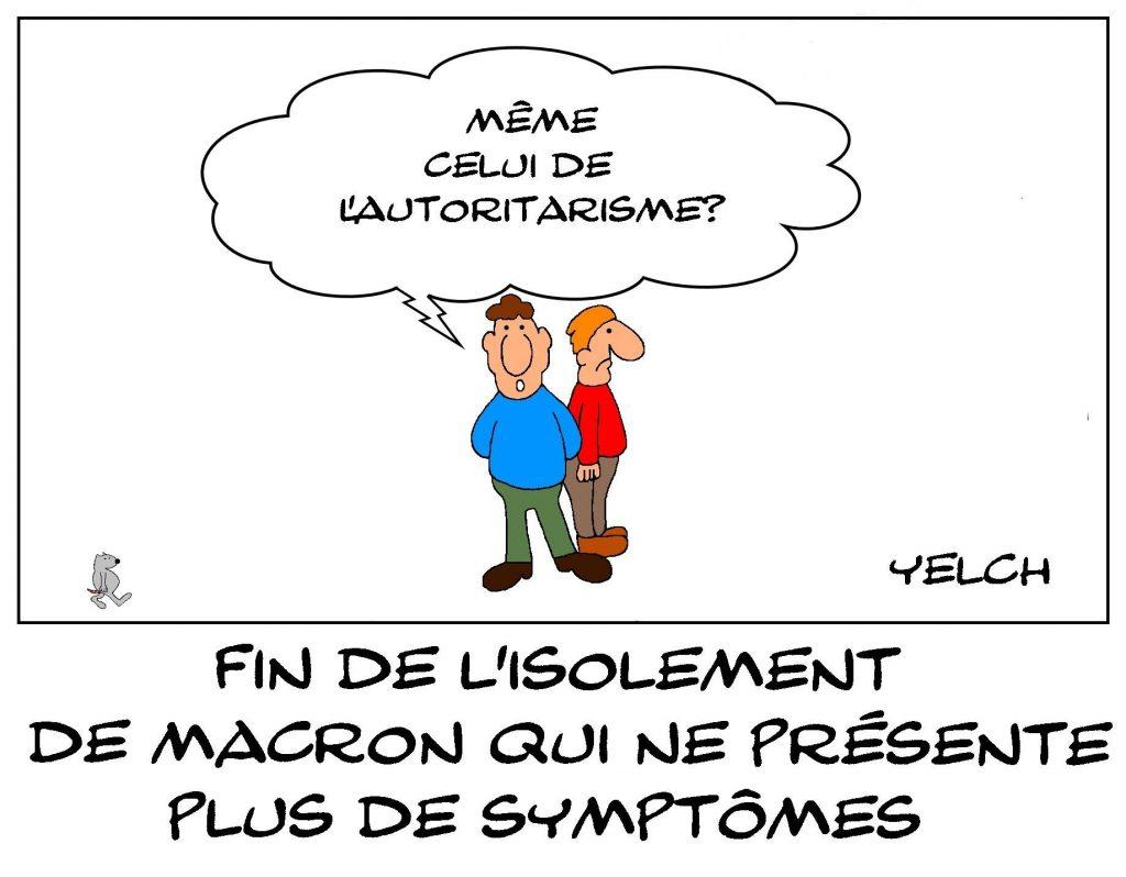 dessins humour coronavirus covid-19 image drôle Emmanuel Macron symptômes autoritarisme