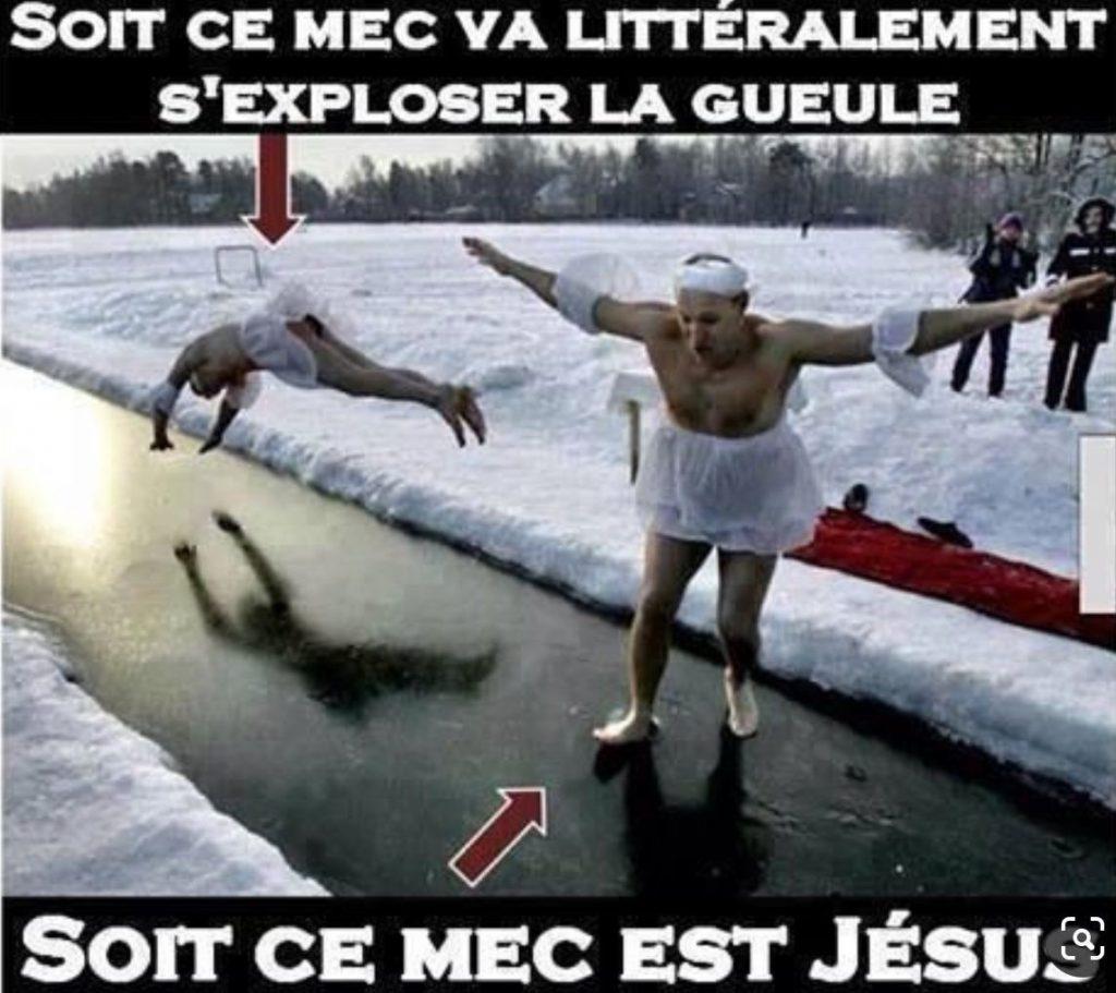 dessin humour marcher eau image drôle miracle Jésus