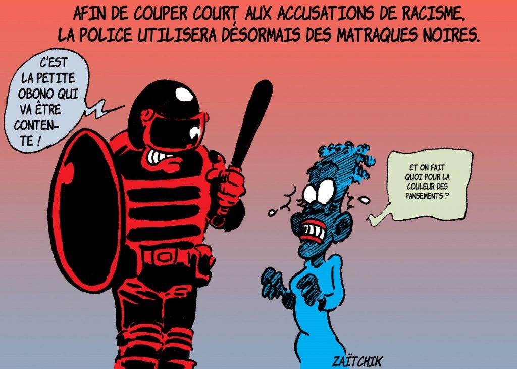 dessin presse humour violences policières image drôle racisme matraques Danièle Obono
