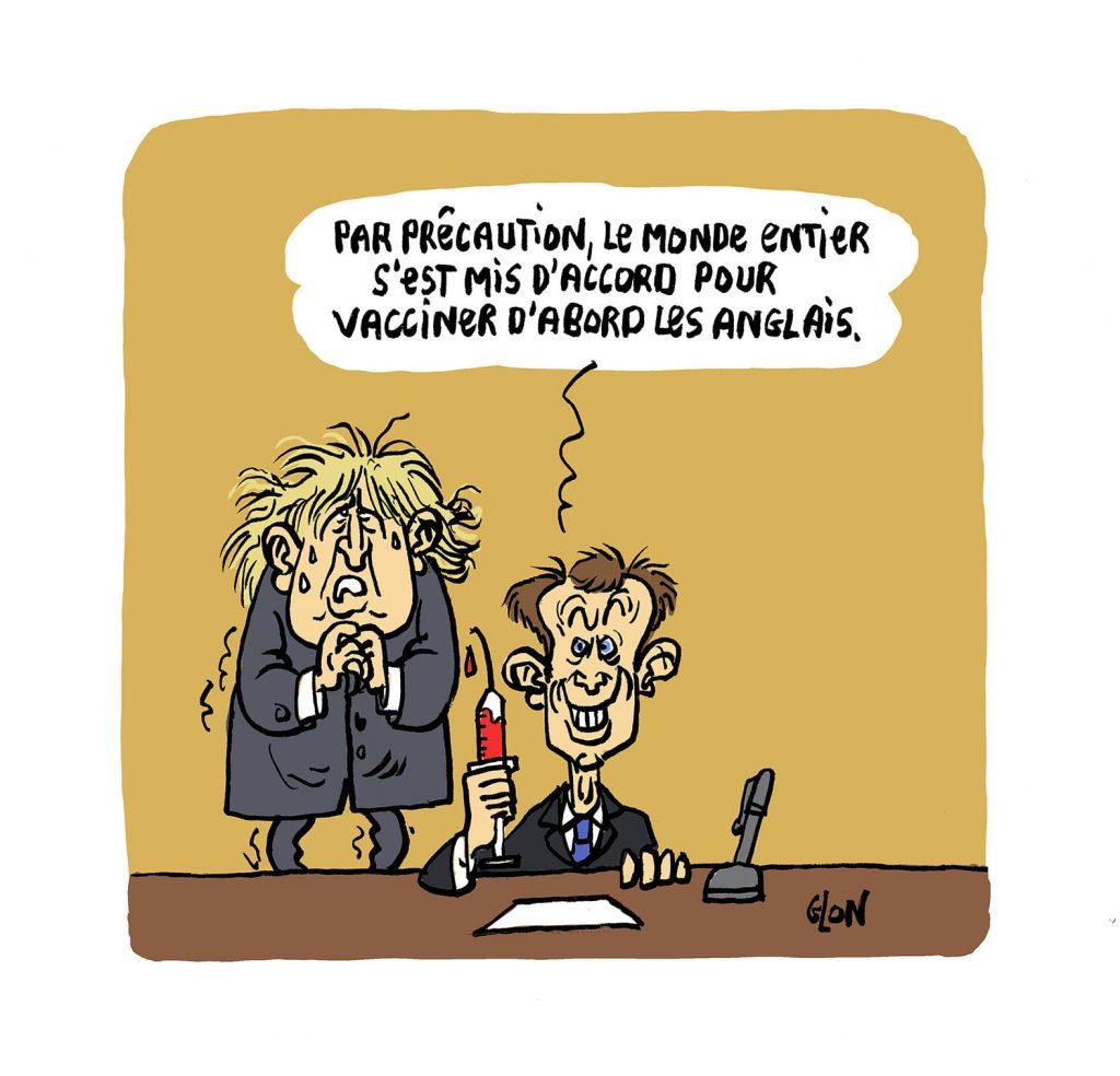dessin presse humour vaccin anti-covid Anglais Emmanuel Macron image drôle coronavirus covid19