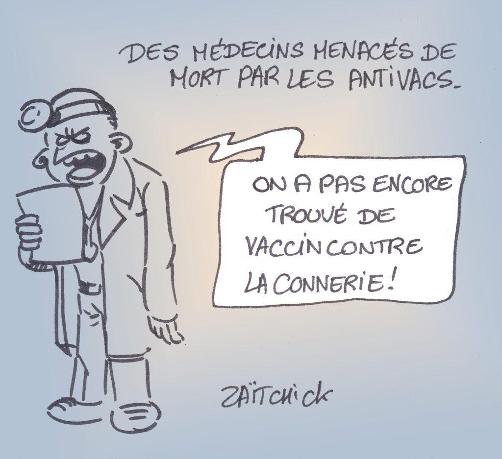 dessin presse humour coronavirus vaccin image drôle médecins antivacs menaces mort