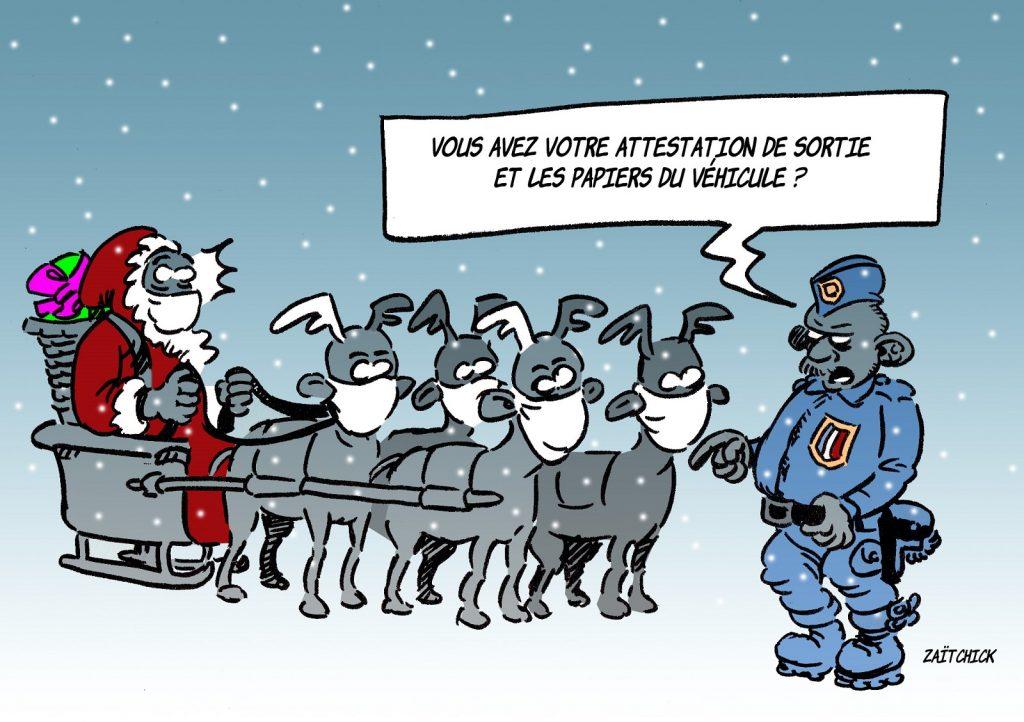 dessin presse humour coronavirus confinement image drôle Père Noël attestation sortie