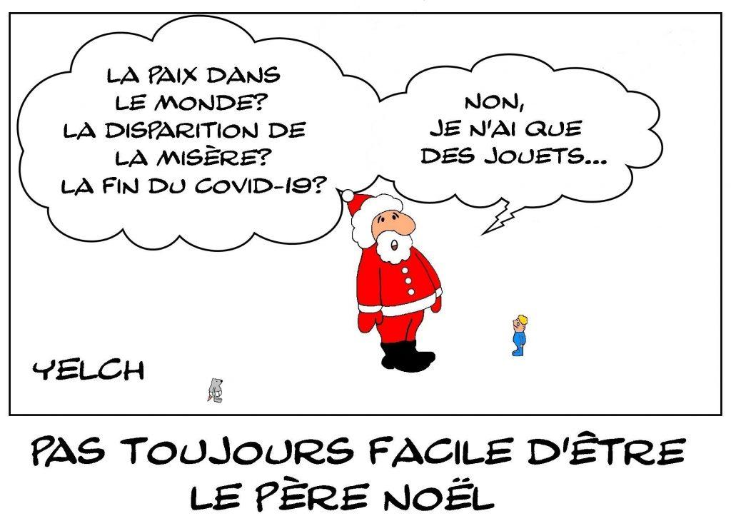 dessins humour Père Noël image drôle coronavirus paix monde fin misère