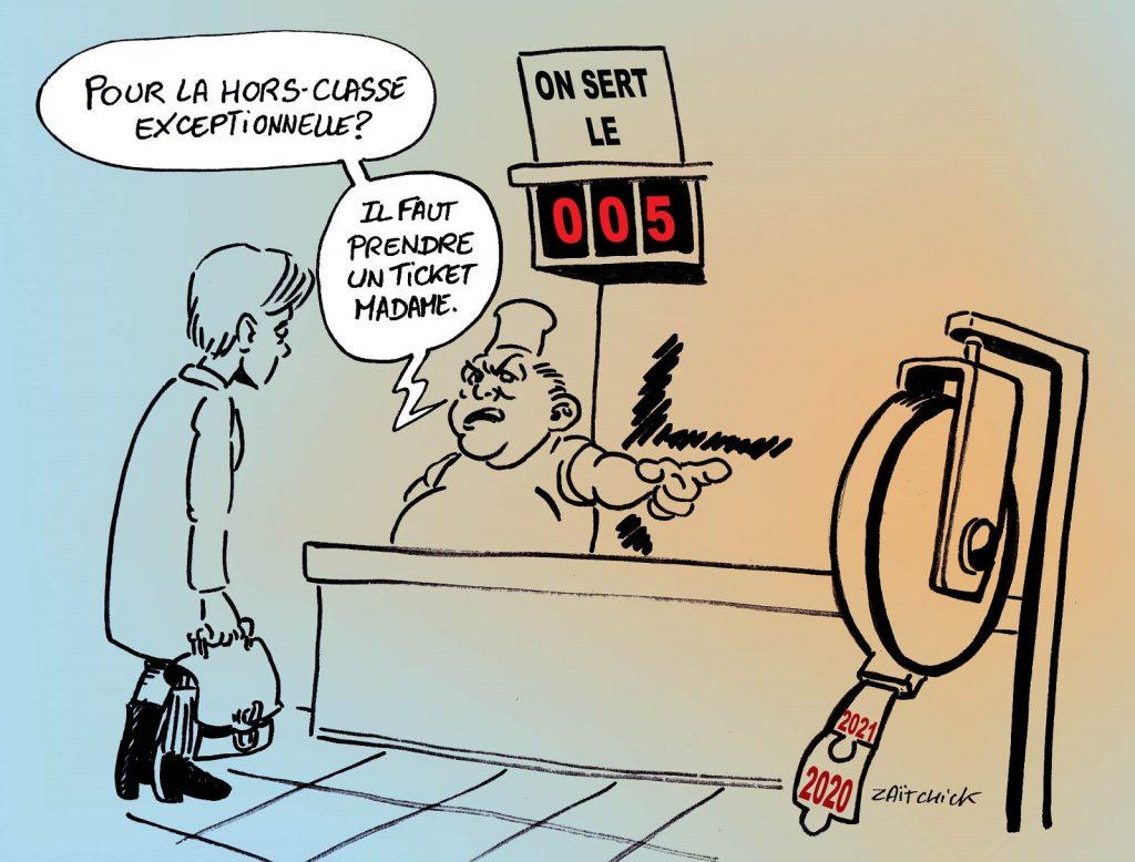 dessin presse humour Éducation Nationale image drôle promotion hors classe