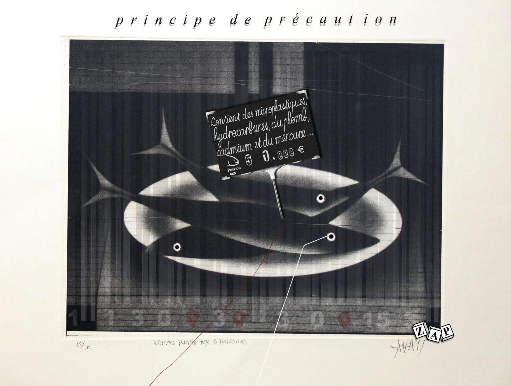 dessin presse humour pêche poisson image drôle pollution principe précaution