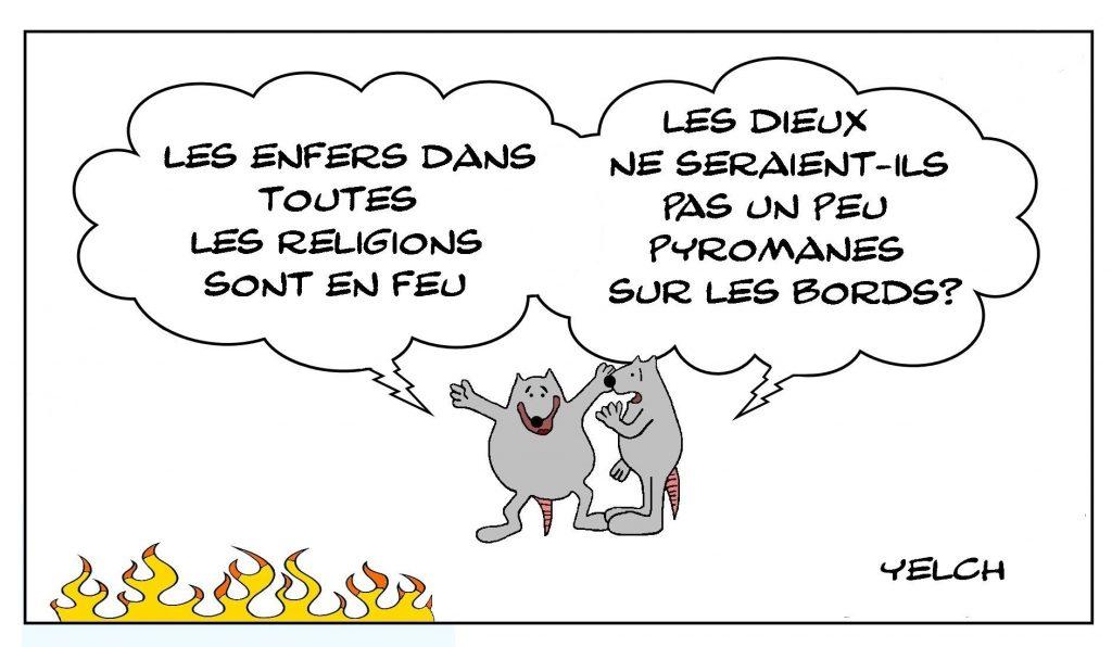 dessins humour religion dieux image drôle enfer feu pyromanie