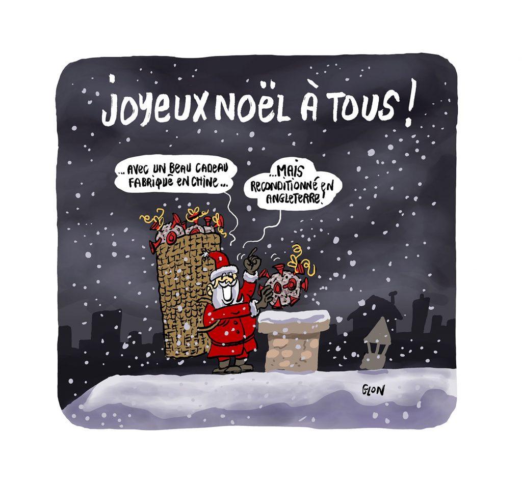 dessin presse humour coronavirus covid-19 mutation image drôle Angleterre Père Noël