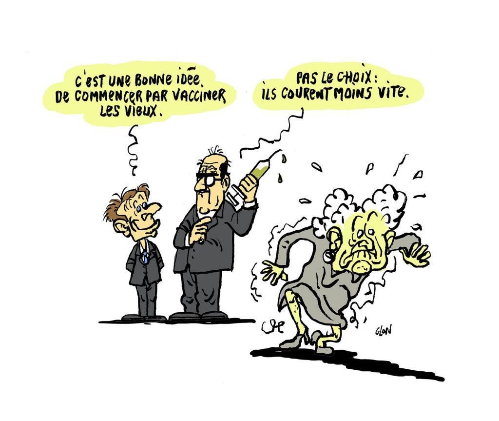 dessin presse humour coronavirus covid-19 vaccination image drôle Emmanuel Macron Jean Castex