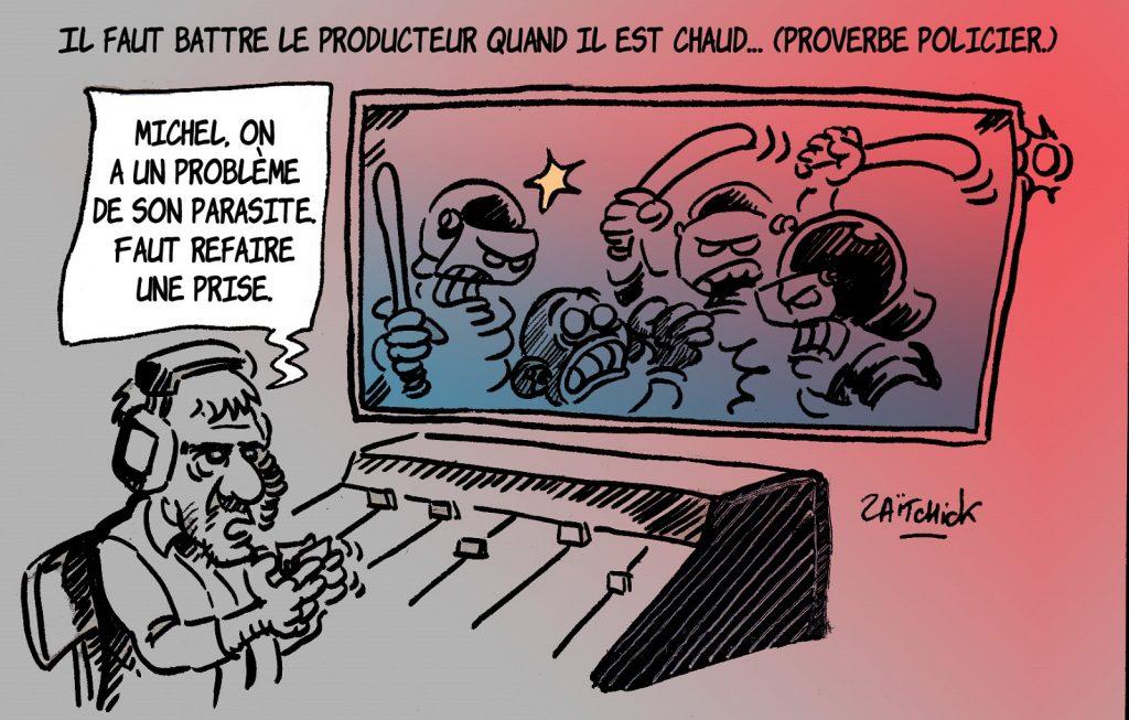 dessin presse humour loi sécurité globale article 24 image drôle Michel Zecler