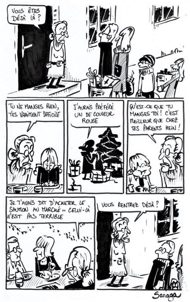 dessin presse humour Noël famille image drôle grands-parents vieux