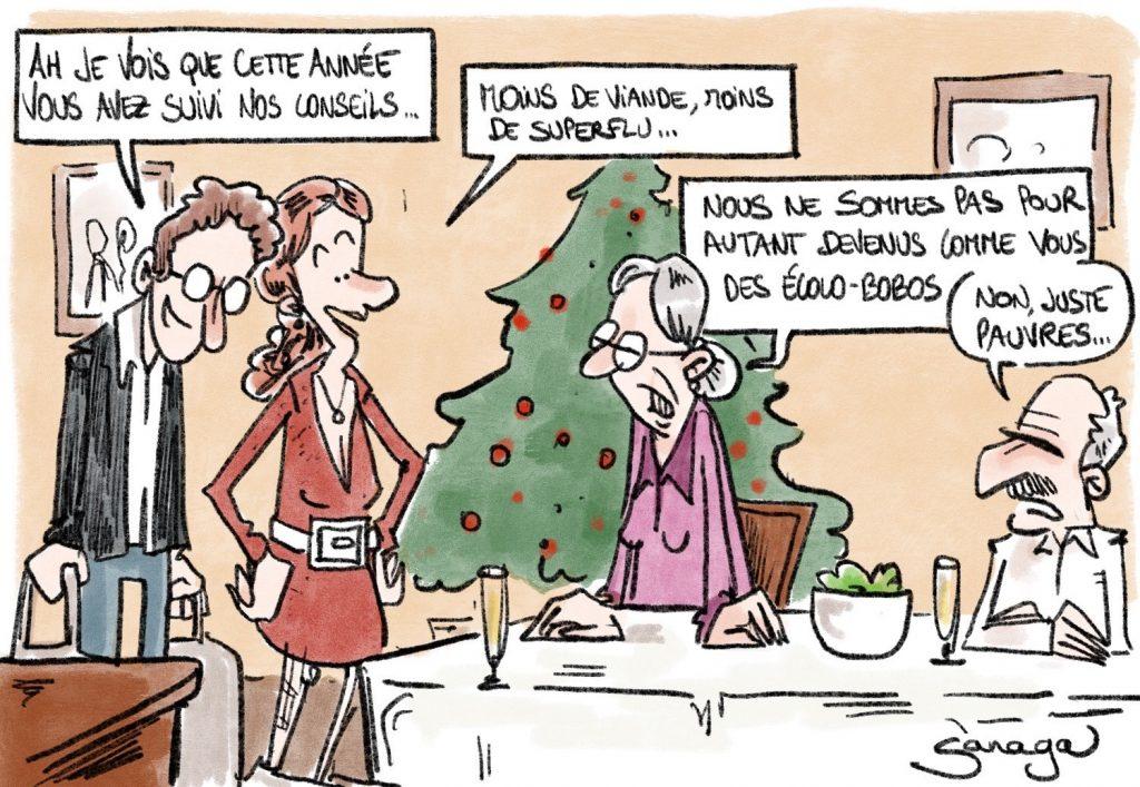 dessin presse humour coronavirus covid-19 image drôle écolo-bobos Noël pauvreté