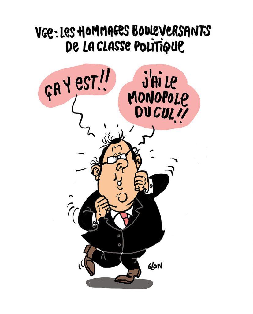 dessin presse humour mort Valéry Giscard d'Estaing image drôle François Hollande