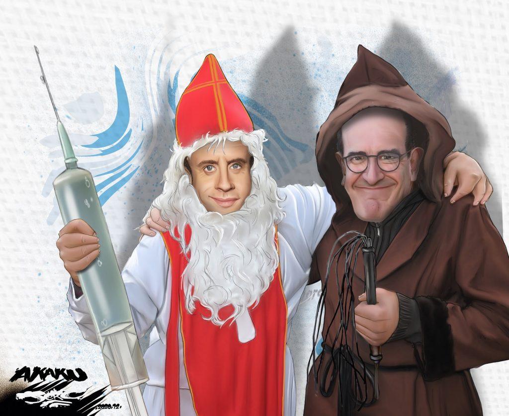 dessin presse humour coronavirus vaccin anti-covid image drôle Emmanuel Macron Jean Castex