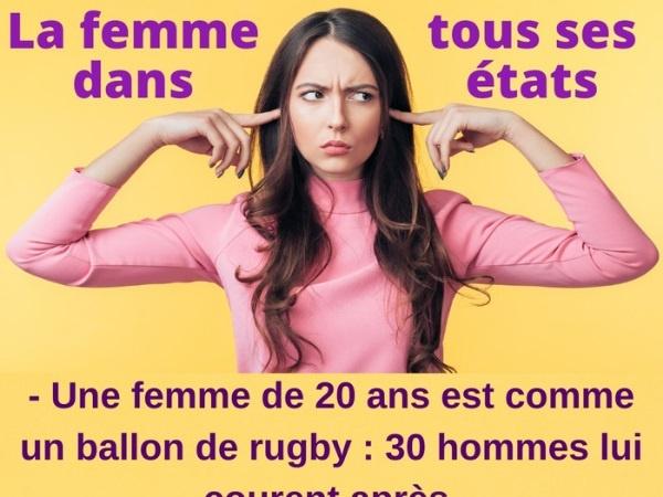 humour, femme, blague sur les femmes, âge, blague sur l'âge, machisme, blague sur le machisme, désir, blague sur les désirs, sport, blague sur les sports, ballon, blague sur les ballons, balle, blague sur les balles, rugby, blague sur le rugby, foot, blague sur le foot, basket, blague sur le basket, baseball, blague sur le baseball, tennis, blague sur le tennis, golf, blague sur le golf