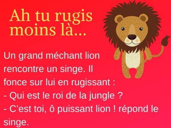 humour, rugissement, blague sur les rugissements, méchant, blague sur les méchants, lion, blague sur les lions, singe, blague sur les singes, puissance, blague sur la puissance, zèbre, blague sur les zèbres, éléphant, blague sur les éléphants, roi de la jungle, blague sur le roi de la jungle, attrapage, blague sur les attrapages, queue, blague sur les queues, trompe, blague sur les trompes, furie, blague sur les furies, ignorance, blague sur l'ignorance, brutalité, blague sur les brutalités