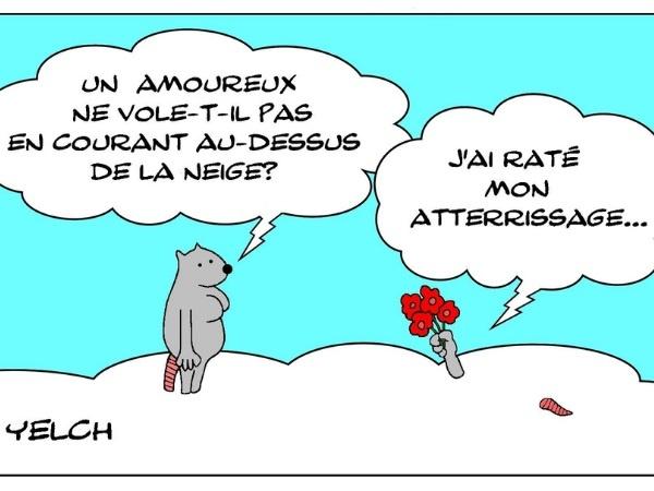 dessins humour amour neige image drôle voler courir atterrissage