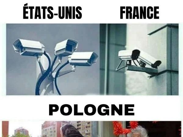 dessin humour vidéosurveillance caméras image drôle France États-Unis Pologne