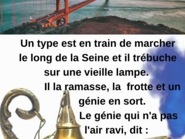 humour, blague sur les génies, blague sur les vieilles lampes, blague sur les vœux, blague sur les ponts, blague sur Tahiti, blague sur comprendre les femmes