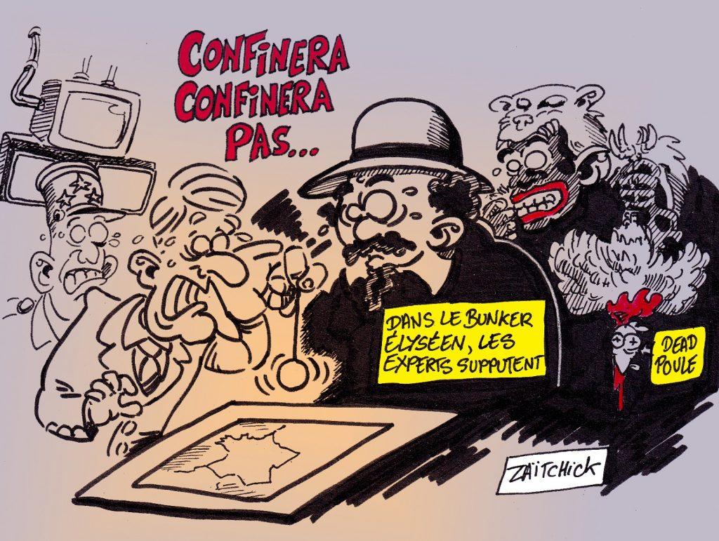 dessin presse humour coronavirus covid-19 image drôle Emmanuel Macron confinement