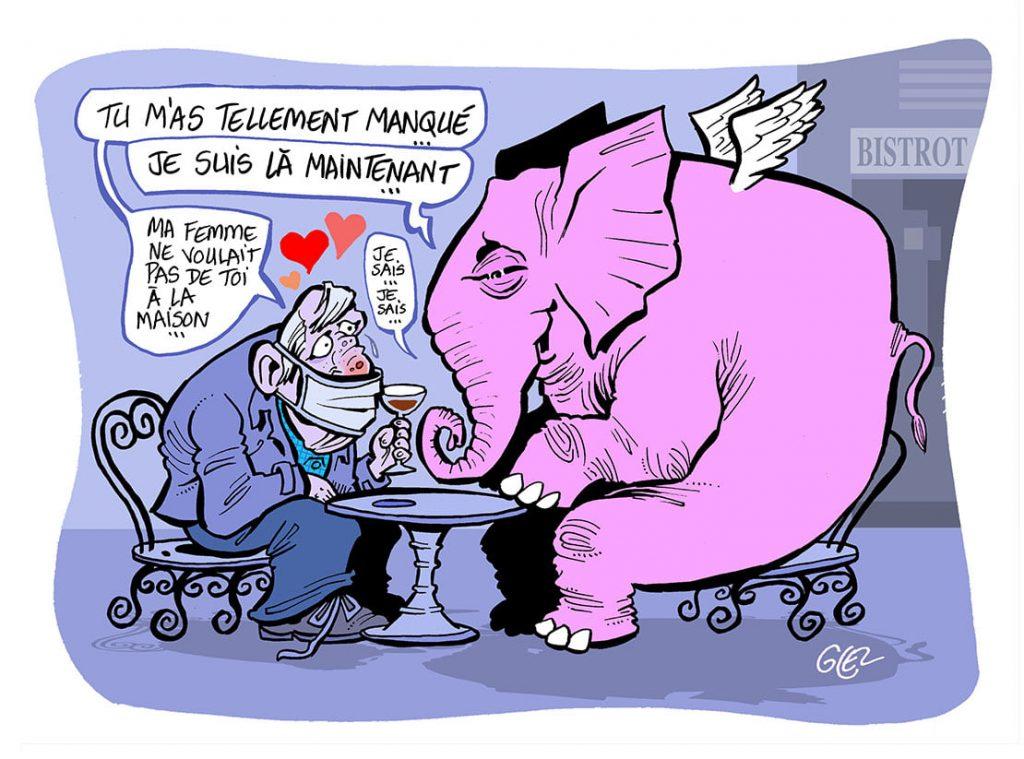 dessin presse humour coronavirus covid-19 image drôle crise sanitaire réouverture bars alcoolisme éléphant rose