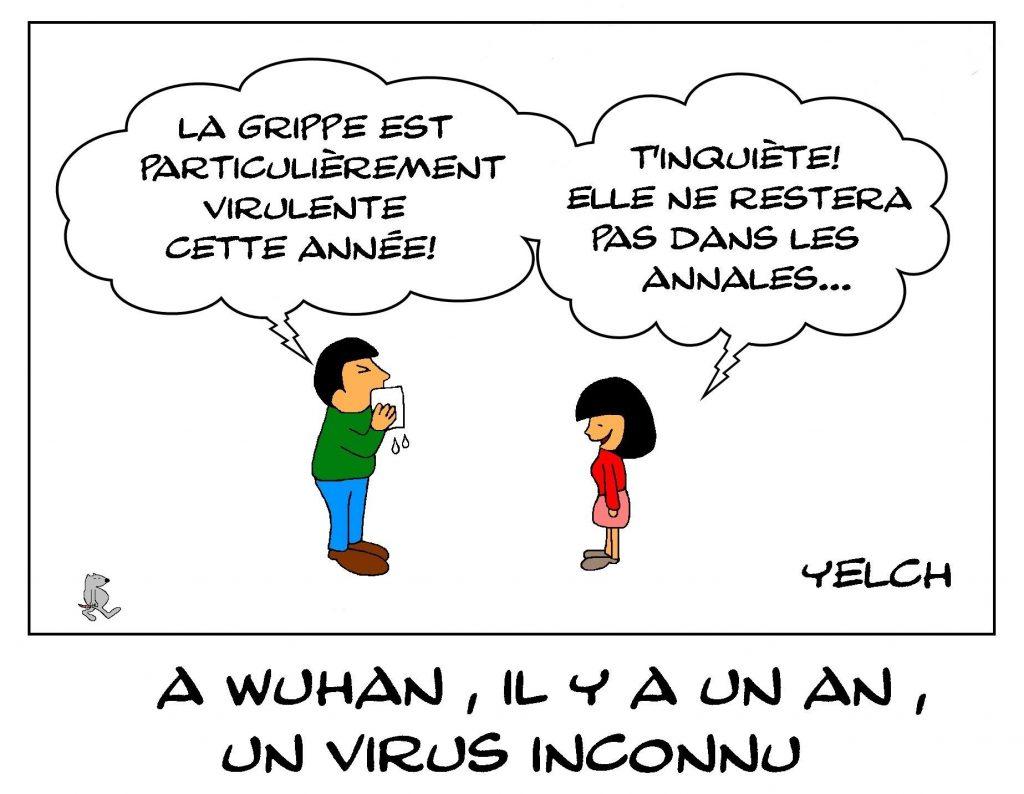 dessins humour Wuhan Chine image drôle coronavirus virus inconnu