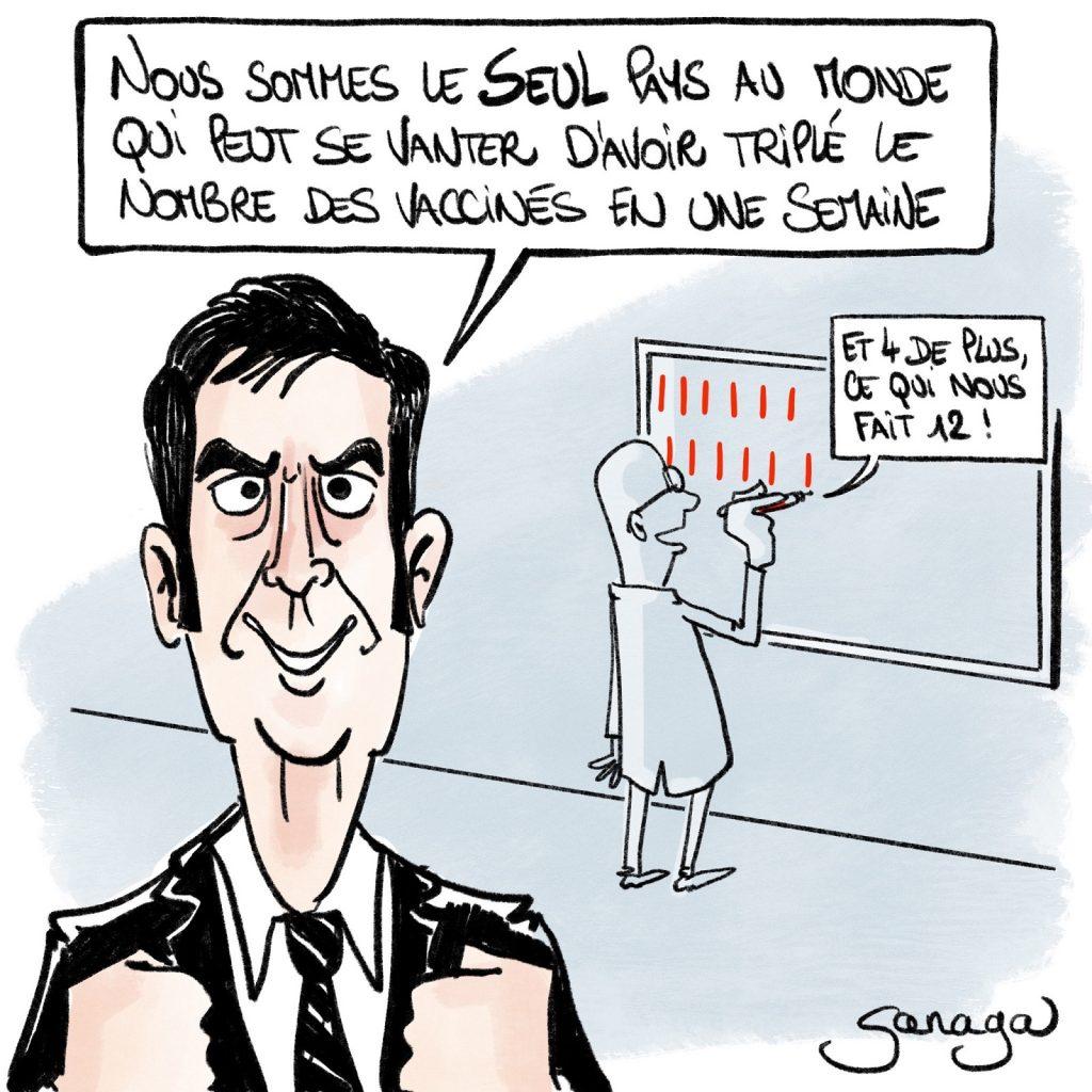 dessin presse humour coronavirus covid-19 image drôle Olivier Véran vaccination