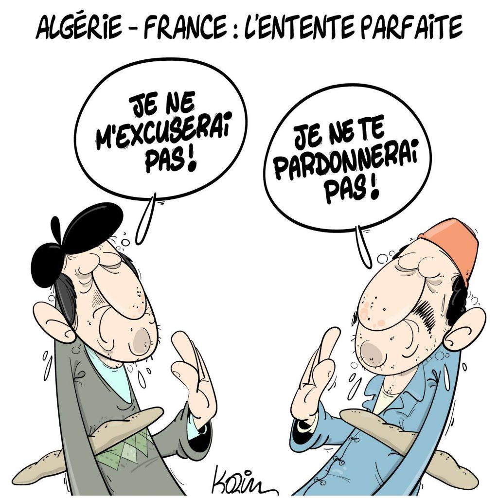 dessin presse humour Algérie France image drôle excuses pardon rapport Stora