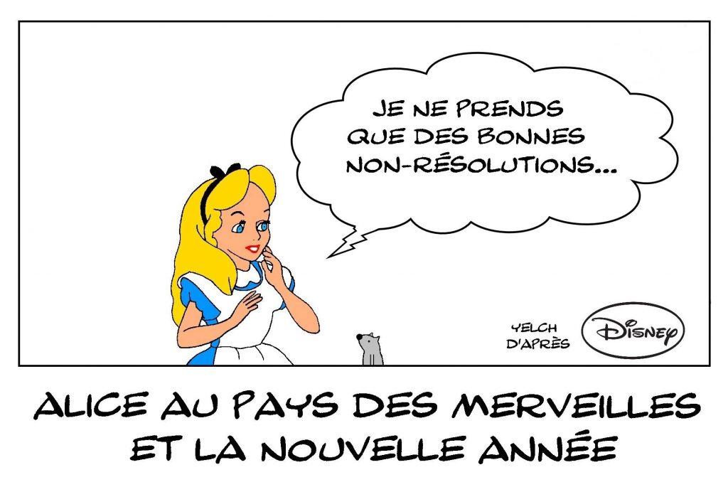 dessins humour Alice au pays des merveilles image drôle nouvelle année 2021