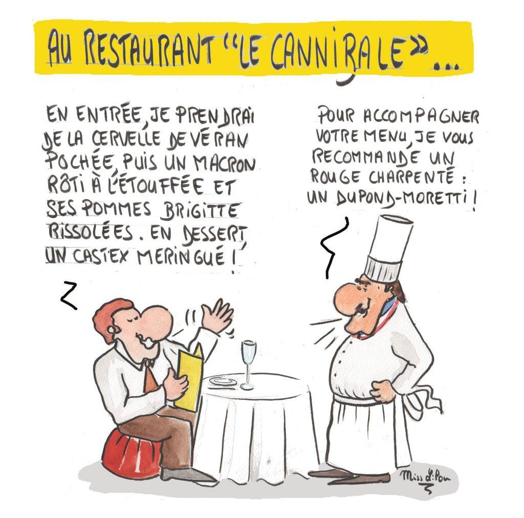 dessin presse humour restaurant cannibale image drôle gouvernement Emmanuel Macron
