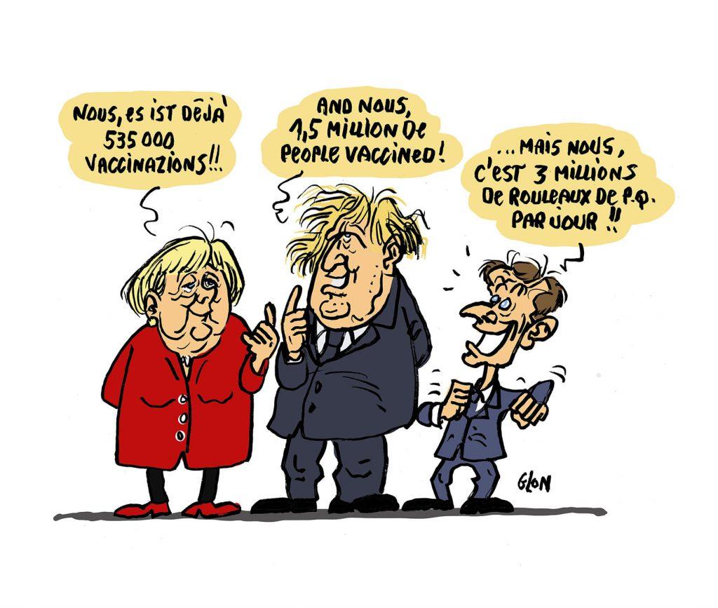 dessin presse humour coronavirus covid-19 image drôle vaccination Emmanuel Macron Angela Merkel Boris Johnson