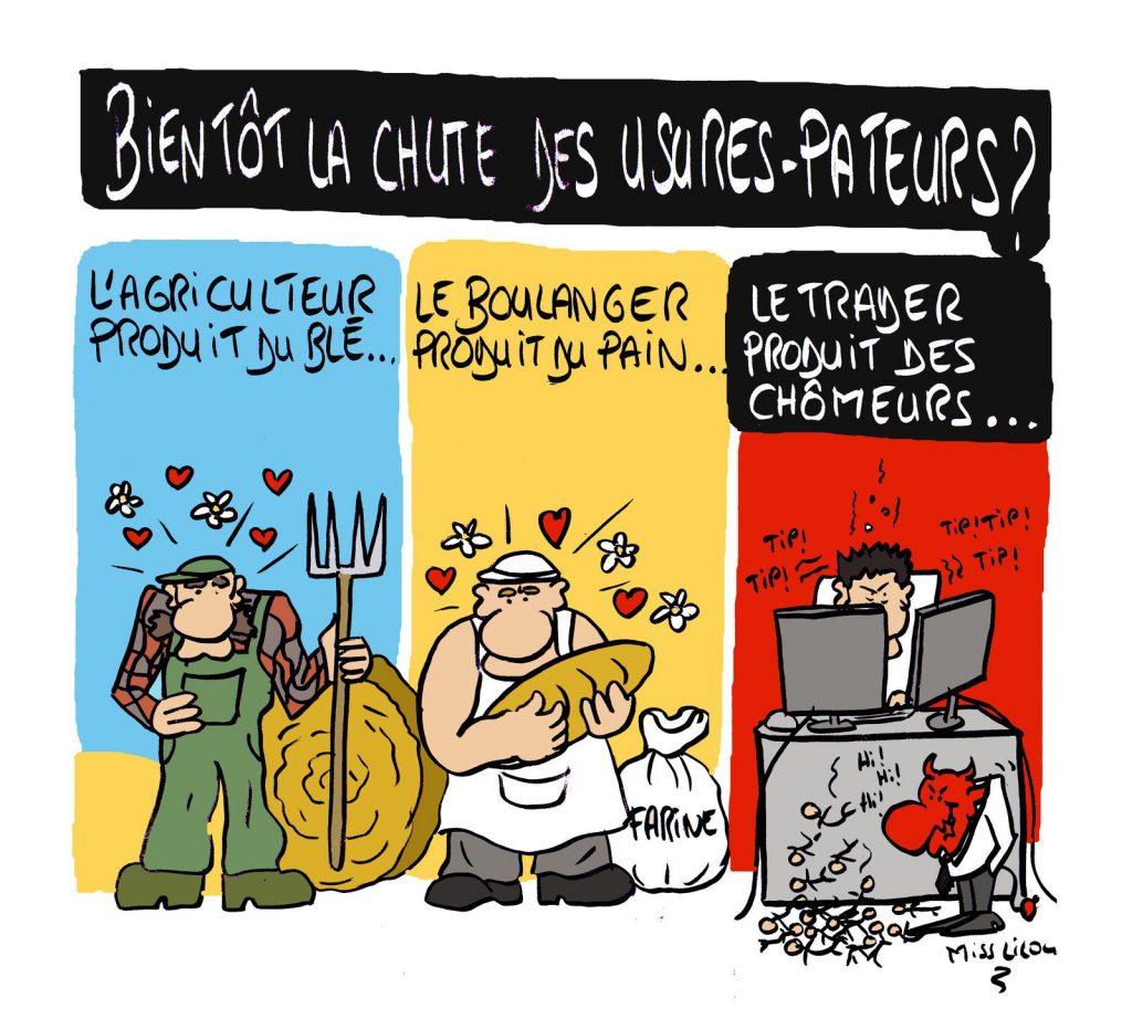 dessin presse humour métier production image drôle finance traders chômage