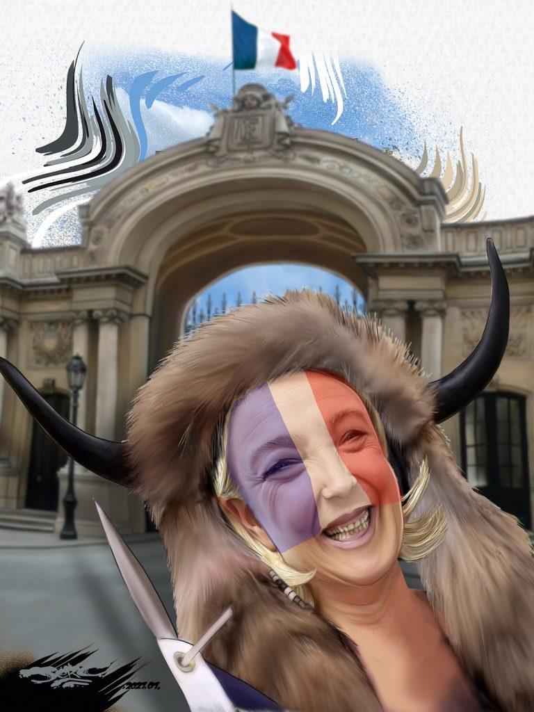 dessin presse humour États-Unis Qanon image drôle Jake Angeli bison Marine Le Pen