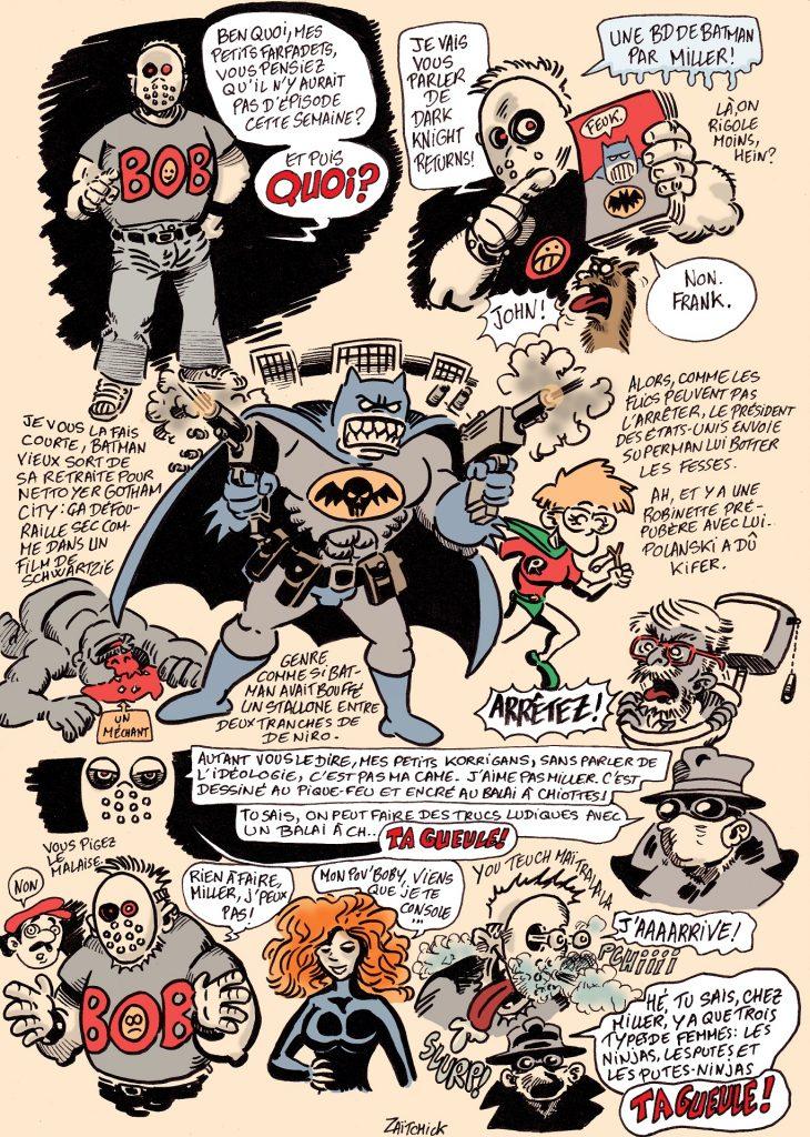 dessin presse humour Bob Zombie Amazing Geek image drôle Batman Dark Knight Returns Frank Miller
