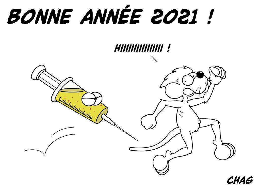 dessin humoristique bonne année 2021 coronavirus image drôle nouvelle année 2021 vaccination