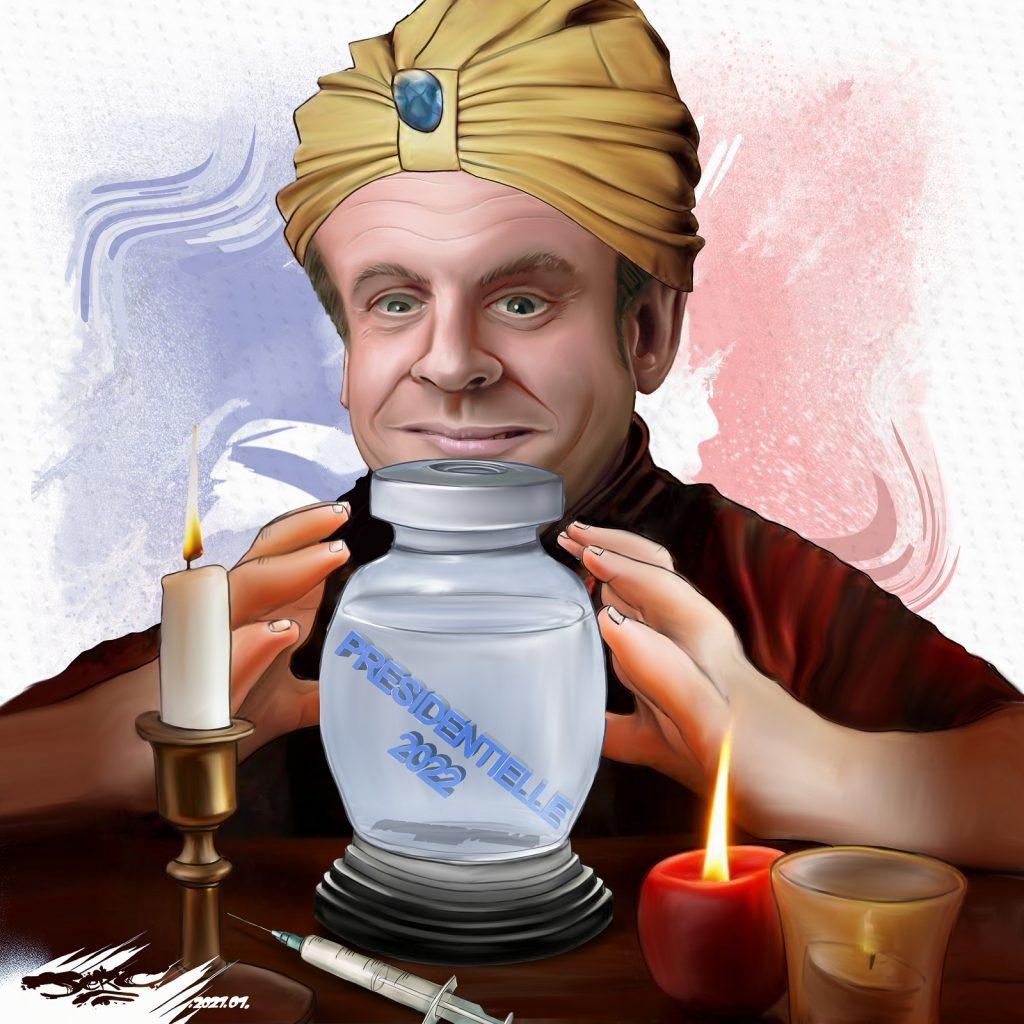 dessin presse humour Emmanuel Macron image drôle élection présidentielle 2022