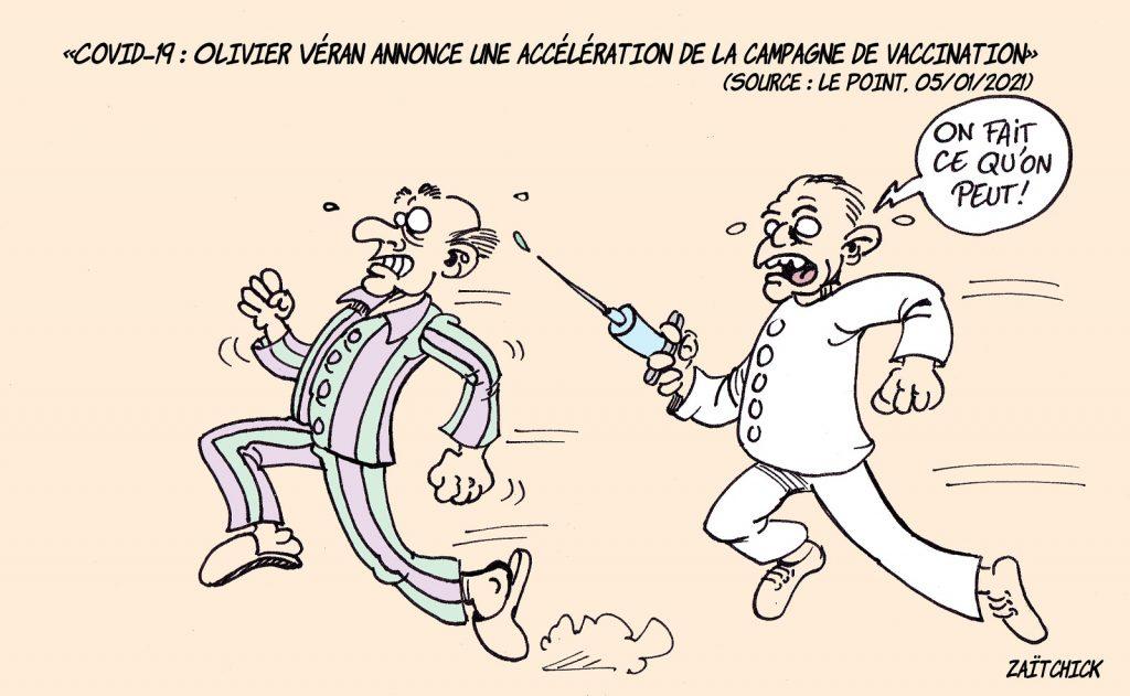 dessin presse humour coronavirus covid-19 image drôle vaccin anti-covid accélération campagne vaccination