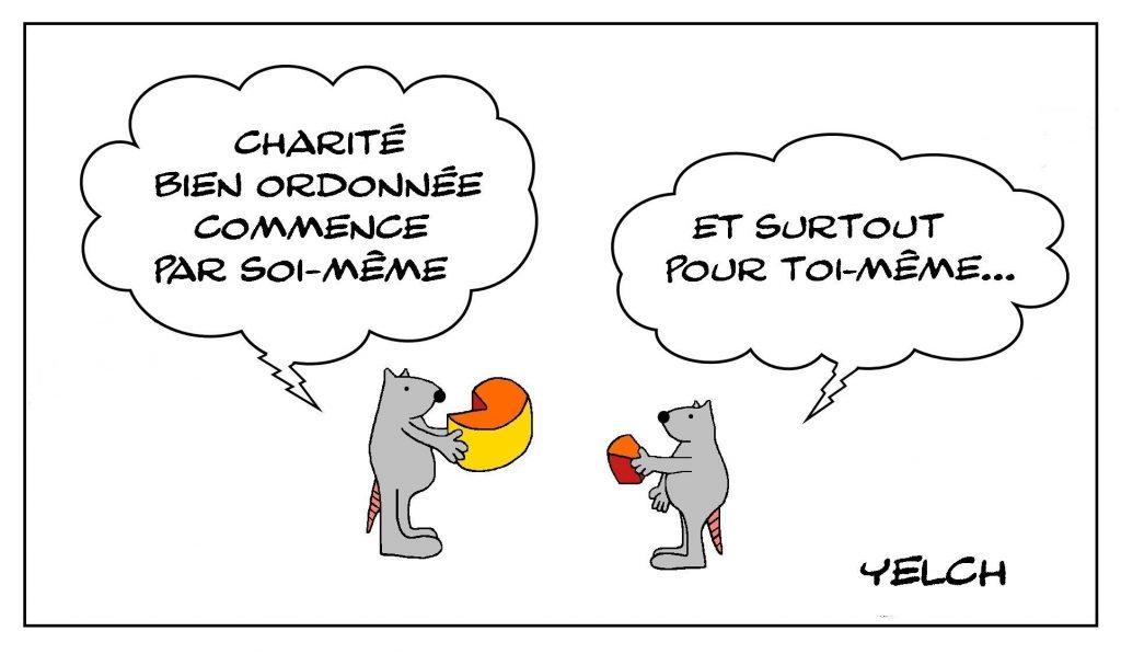 dessins humour proverbe dicton image drôle charité ordre