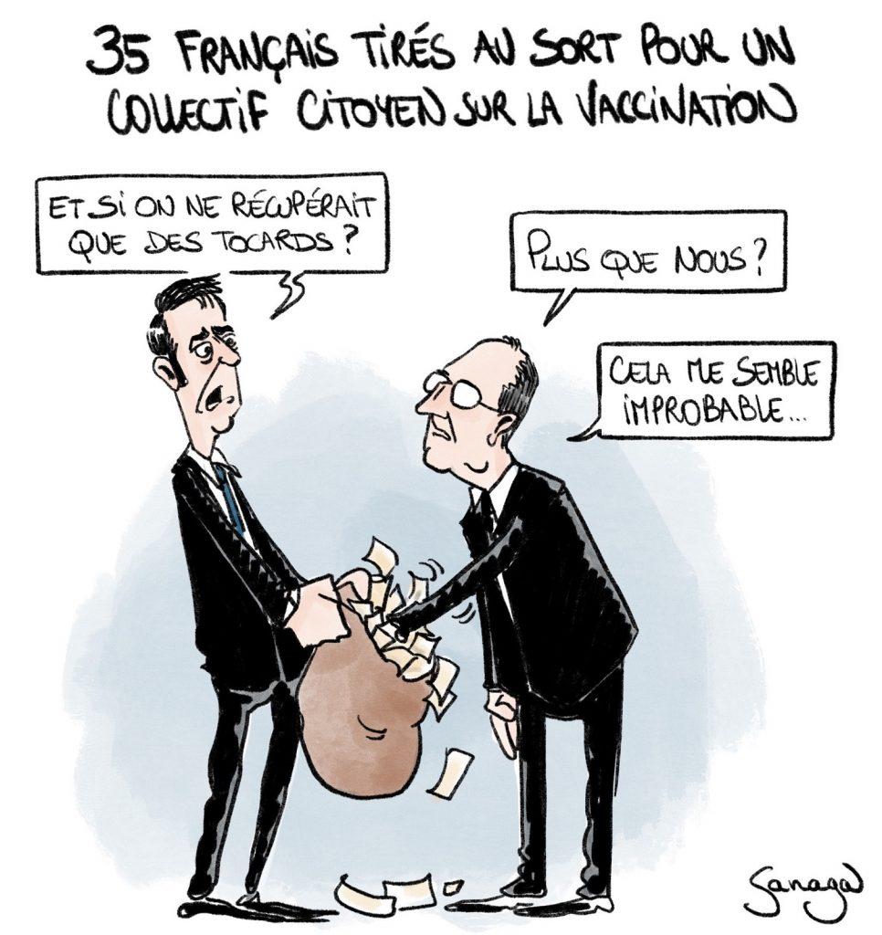 dessin presse humour coronavirus covid-19 image drôle vaccination collectif citoyen Jean Castex Olivier Véran