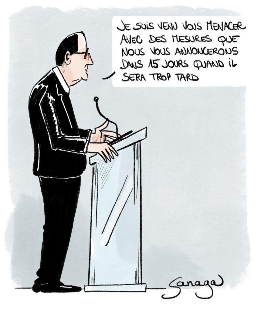 dessin presse humour coronavirus covid-19 couvre-feu image drôle conférence presse Jean Castex