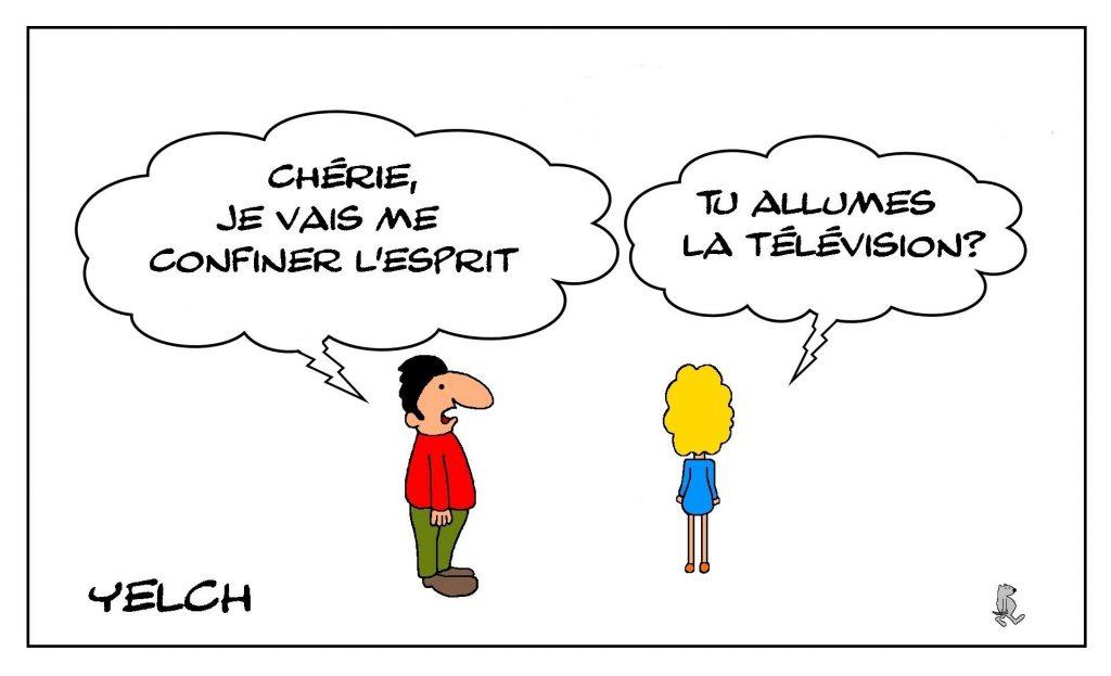 dessins humour coronavirus covid-19 image drôle confinement télévision