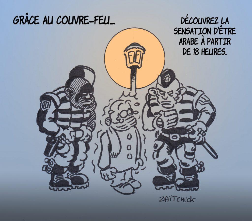 dessin presse humour coronavirus covid-19 image drôle couvre-feu contrôle faciès