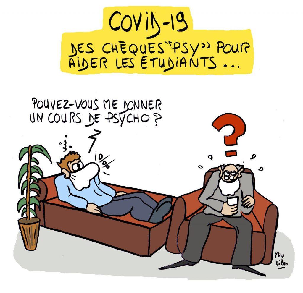dessin presse humour coronavirus covid-19 image drôle étudiants chèques psy
