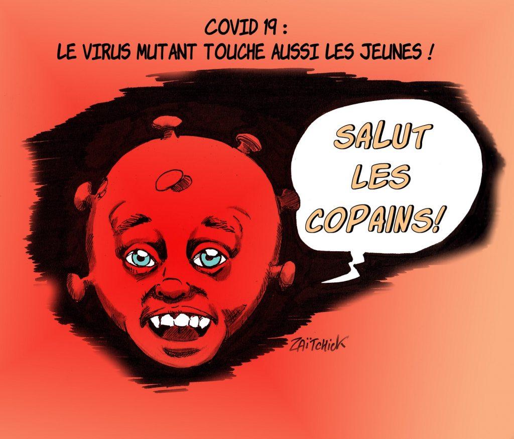 dessin presse humour coronavirus covid-19 image drôle contagiosité virus mutant jeunes