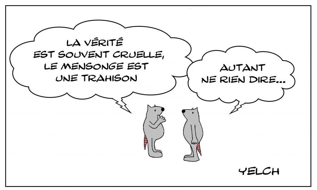 image drôle philosophie pensée dessin humour vérité cruauté mensonge trahison