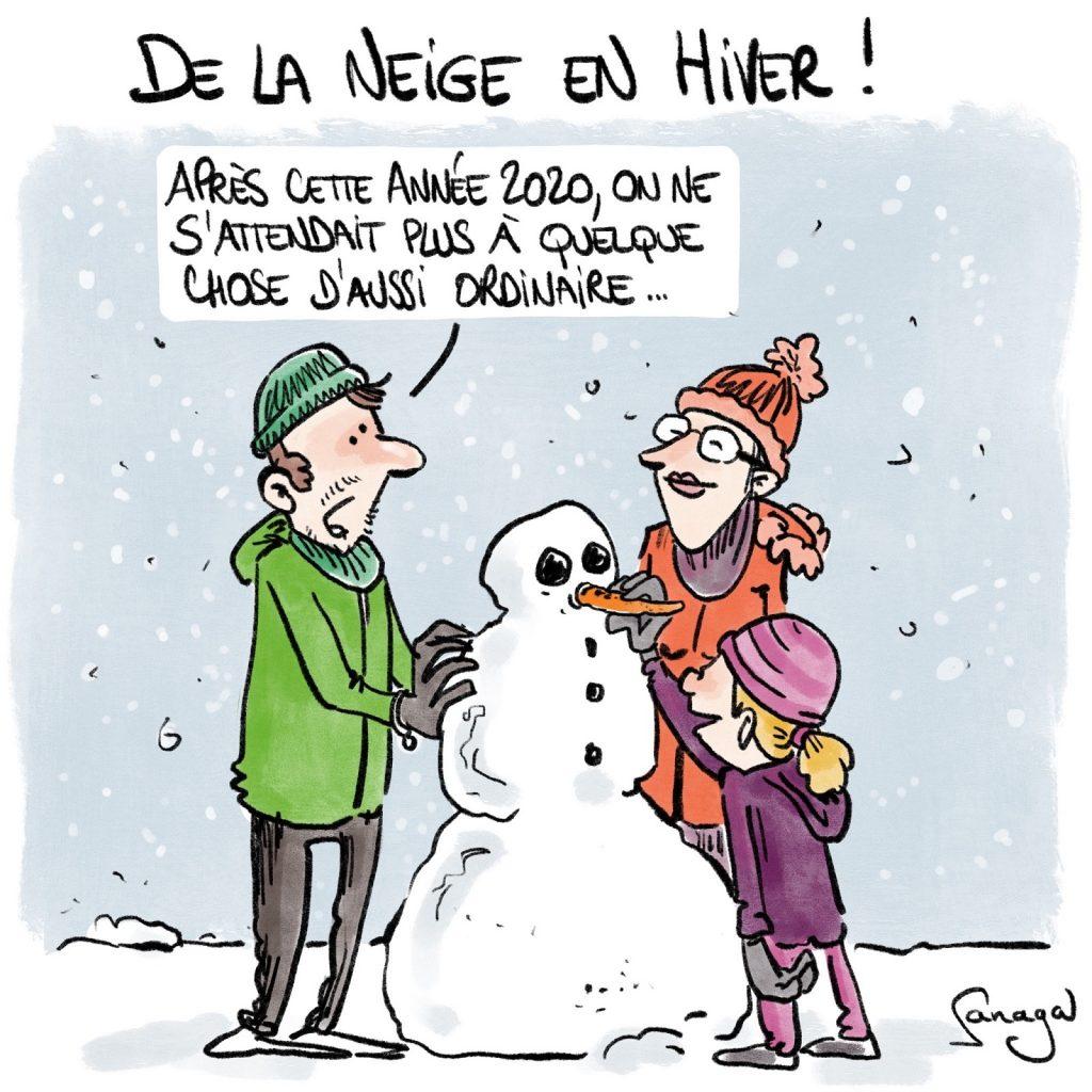 dessin presse humour météo neige image drôle année 2020 pandémie